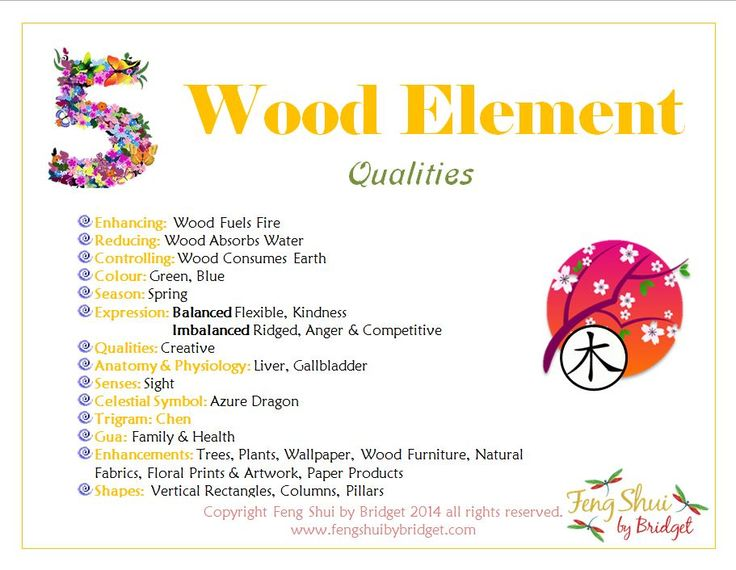 Feng Shui by Bridget's Wood Element Qualities. Join me on Facebook for your Daily Inspirations to Get Your Groove On! Enriching Mind, Body, Spirit, Home. https://www.facebook.com/ZenSolutionsbyBridget