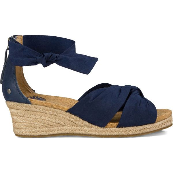 Ugg Starla Espadrille Wedge Sandal (£70) ❤ liked on Polyvore featuring shoes, sandals, navy, navy blue espadrilles, navy wedge sandals, wedge espadrilles, navy wedge shoes et navy blue sandals