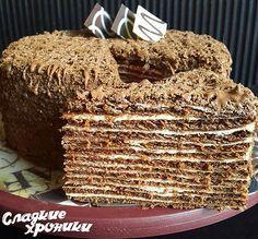 Шоколадный медовик с двумя вариантами крема: сметанным и шоколадным заварным