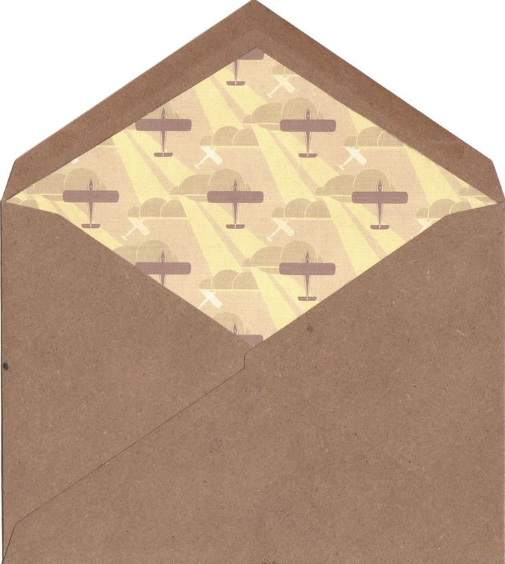DIY liners for envelope.  I found this airplane pattern for my Dad's birthday party invitation.  He was a pilot so it was perfect.  I made a template out of a manilla folder and then cut out my liner paper to fit and glued them in with stick glue.