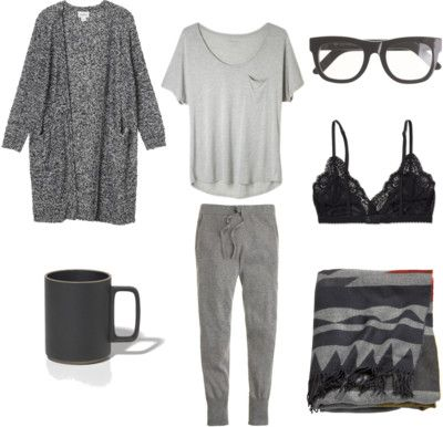 Grey sweatpants, t-shirt, and marled cardigan. Cozy day in.