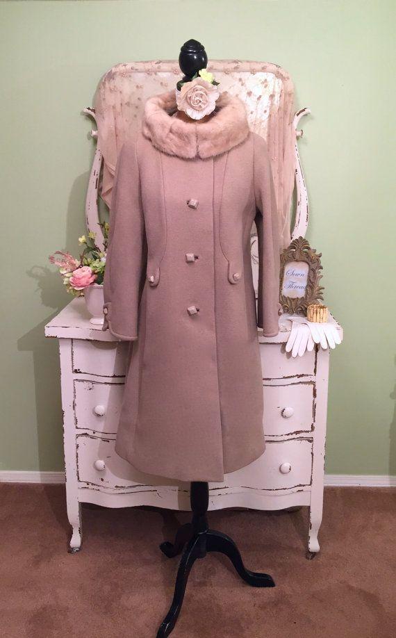 60s Taupe Wool Coat w Ivory Mink Collar Vintage Winter Coat