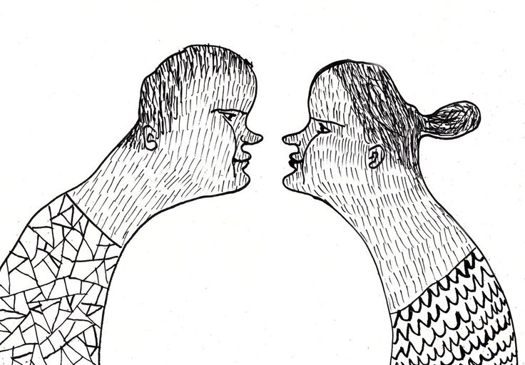 nose to nose  / ORIGINAL ILLUSTRATION / ink drawing by Tosya