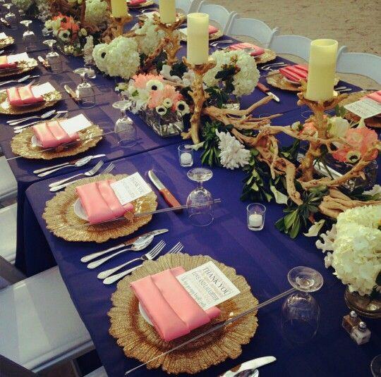 Key West Wedding Ideas: Navy Blue And Coral Wedding Table