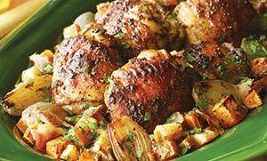 Μπούτι κοτόπουλου με πατάτες και τυρί κρέμα