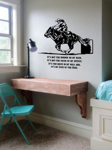 Horse quote, It's not the number on my back. It's not the color of my outfit. It's the drive in my will and it's my Love for the Ride. This decal measures approx. 37 X 35 inches as it is pictured. You