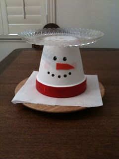 Snowman Tray --- Painted clay pot topped with a clear platter.