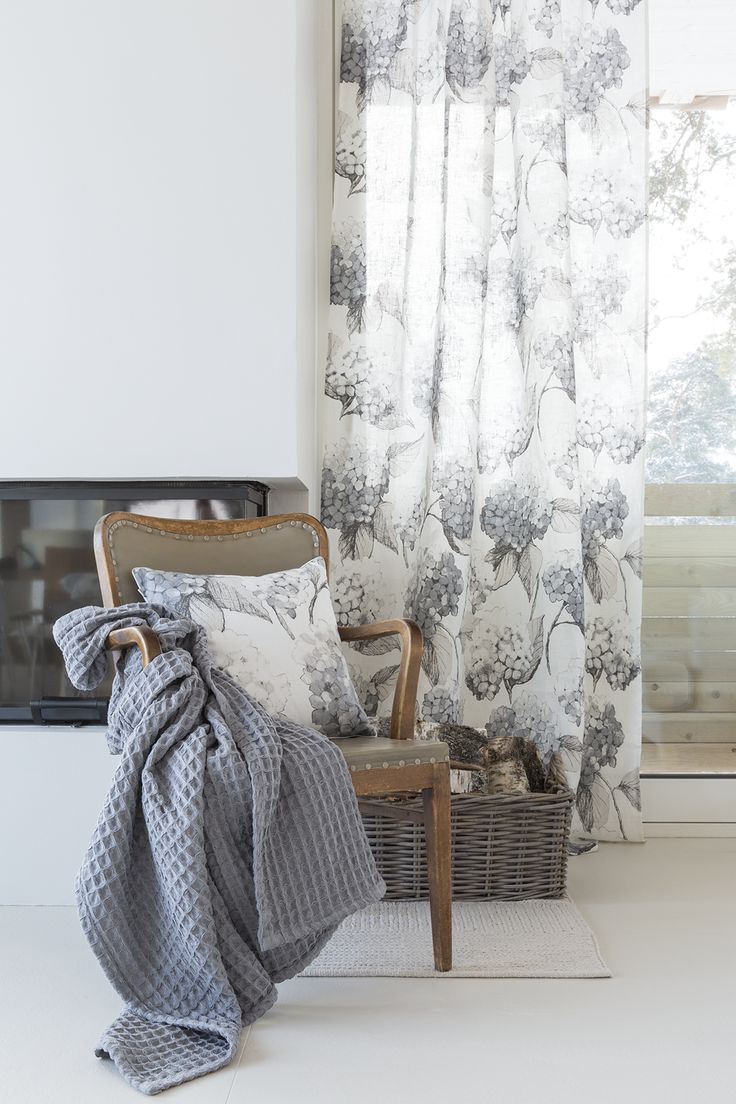 Hortensia Linen Curtain | Pentik | The Hortensia pattern charms in the grey and slightly translucent linen curtain. Designer Minna Niskakangas drew the original pattern on plywood with a pencil and pastels. Material: 100% linen.