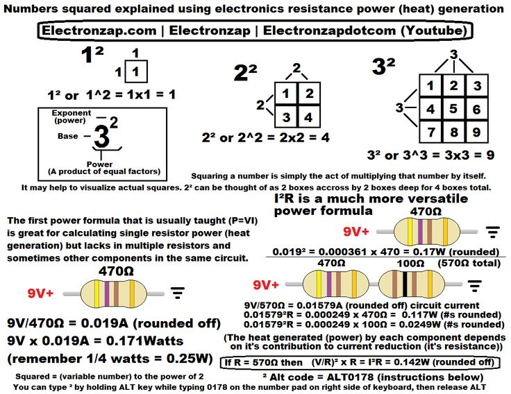 New diagram posted to website that helps explain the usefulness of numbers squared (x²), by using a squared number in the power formula that uses the current squared (P = I²R). This is a better power formula to use than more commonly taught P = VI when you want to know the heat generated by multiple resistive components in the same circuit.