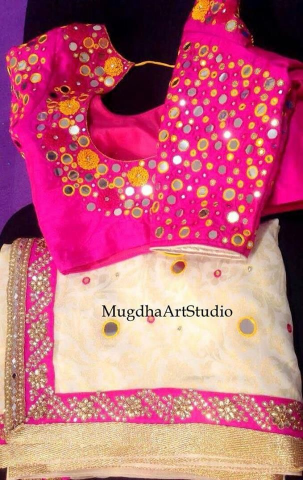 Top Beautiful Mirror work Blouse Designs Latest designs :-  Mirror work blouse designs have become fashion now. When a mirror work blouse is combined with a plain saree it will give stunning a…