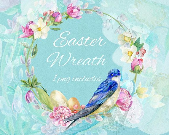 Watercolor Spring Frame Floral Easter Wreath Clipart Template