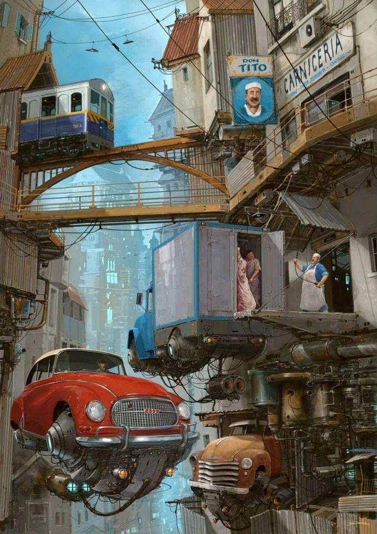 Alejandro Burdisio,ouBurdacomo é conhecido, vive em CórdobanaArgentina e é um excelente desenhista, ilustrador e cartunistaapaixonado por carros antigos. Ele é ilustrador profissionalna área dearquitetura há mais de vinte anos e tem seu próprio estúdio onde trabalha em parceria com uma equipe multidisciplinar. Seus desenhos são uma mistura doestilo futurista commecanismos vintage, combinando muito bem eresultando em um cenário steampunk,onde asformas arredondadas e cores…