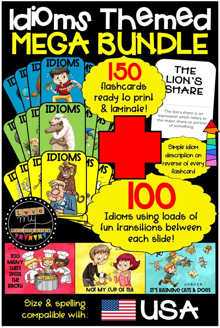 Idioms Mega Bundle with 150 Flashcards + PowerPoint