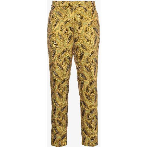 Dries Van Noten Metallic Brocade Tailored Trousers (36.695 RUB) ❤ liked on Polyvore featuring pants, metallic, tailored pants, metallic trousers, brocade pants, dries van noten pants and dries van noten