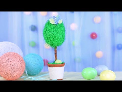 How to make DIY Easter tree. Цe'll show you a great decoration idea of making lovely homemade tree with eggs and a butterfly! #eastercraft #homedecor #handmadetree