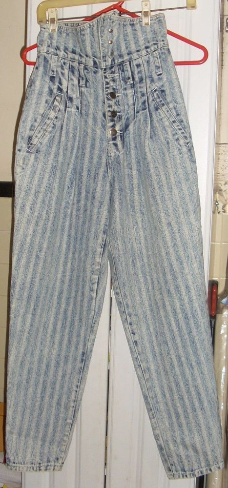 JEANS DENIM  Traffic Size 7-8 Striped Dark & Light Denim High Waist Jeans #Traffic #BootCut