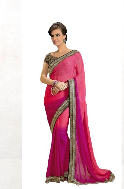 Pink with Purple Satin Chiffon Saree