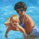 """""""Little Swimmer"""" woman holding baby in swimming pool  2012-03-10  8 in X 8 in (20.3 cm X 20.3 cm)  oil on board  $200   USD  By Kay CrainHolding Baby, 200 Usd, Woman Holding, Swimming Pools, Pools 2012 03 10, Little Swimmers, Kay Crain, Awesome Artworks, Boards 200"""