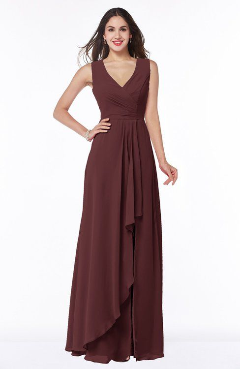 Burgundy Glamorous A-line Sleeveless Zipper Chiffon Floor Length Plus Size Bridesmaid Dresses
