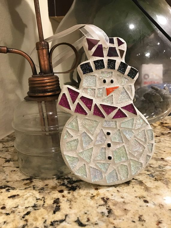 Snowman Ornament, Stained Glass Mosaic Snowman, Christmas