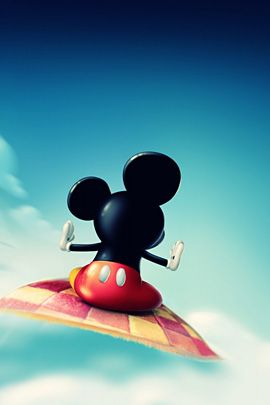 Cute wallpaper with mickey mouse on flying carpet