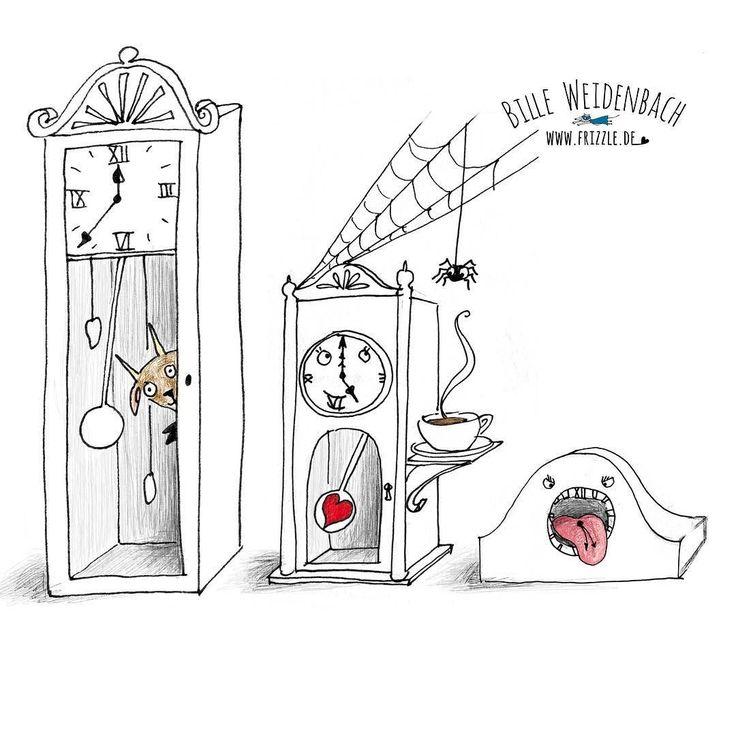 """Also heute morgen hat der Wecker meiner Tochter zwanzig Minuten lang gekreischt sie ist einfach nicht aufgewacht. Ich musste sie tatsächlich """"von Hand"""" wecken was ja auch viiiiiel schöner ist!  Thema heute: #uhr 89/365 . . . . #365doodlesmitjohanna @byjohannafritz #wecker #clock #doodledaily #kidlitartist #fiveoclocktea #teatime #monster #fairy #illustratorsofinstagram #illustratorenorganisation #illustrate #illustrator #illustratorlife #instaart #instadoodle #drawingoftheday #drawdaily…"""
