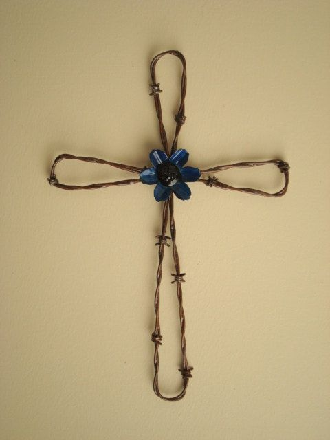 Hand Crafted Barbed Wire Wall Cross with Blue by Jaysmetaldesigns