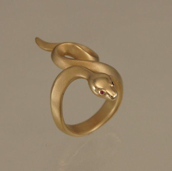 boa snake ring, bronze, ruby eyes