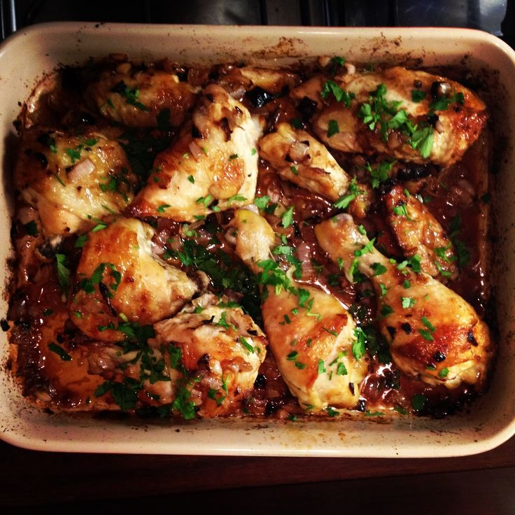 Roast chicken with caramelized shallots and fresh herbs