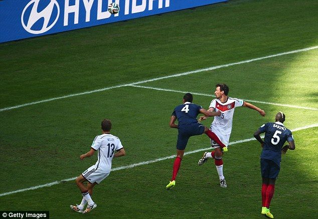 Mats Hummels scores the lone goal vs. France in the quarter finals.