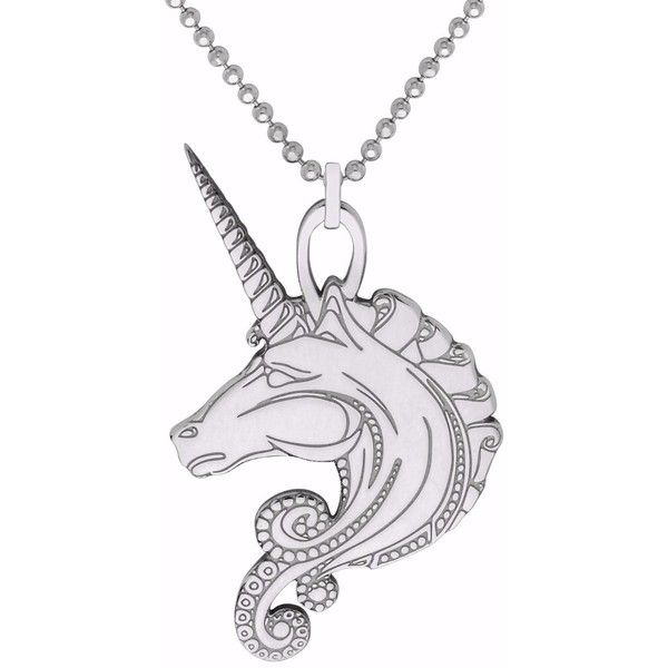 CarterGore - Silver Unicorn Pendant Necklace ($70) ❤ liked on Polyvore featuring jewelry, necklaces, shiny charm, silver necklace, tattoo choker necklaces, silver choker necklaces and silver layered necklace