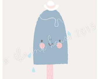 AFDRUKKEN van A4 ICE CREAM ijs illustratie kunst door TheInkHouse