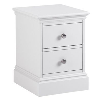 debenhams white narrow bedside cabinet with 2 drawers at