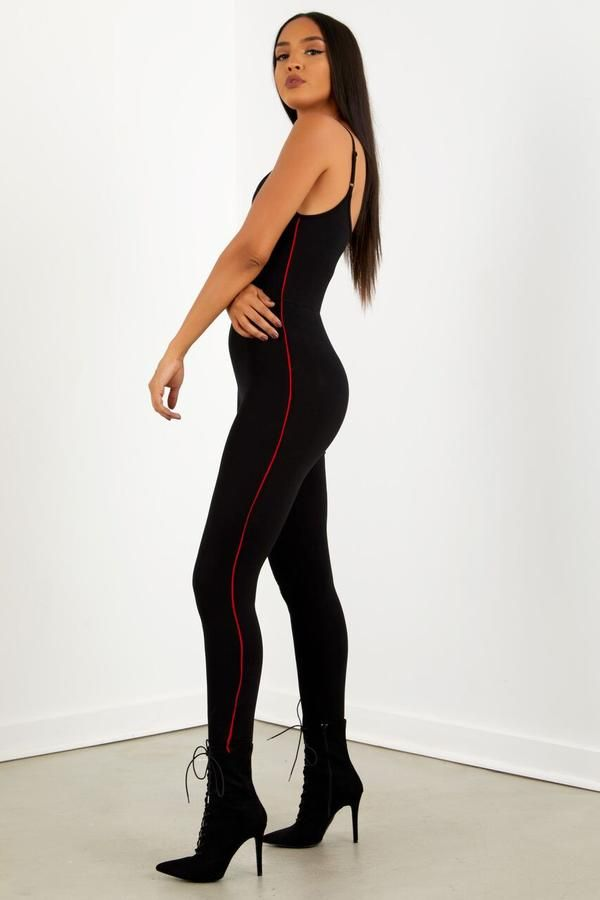 Knit Side Catsuit Blk/Red