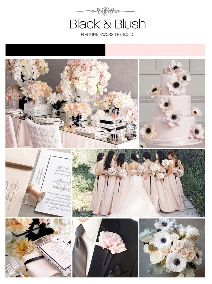 Black, light pink, blush wedding inspiration board, color palette, mood board, via Weddings Illustrated