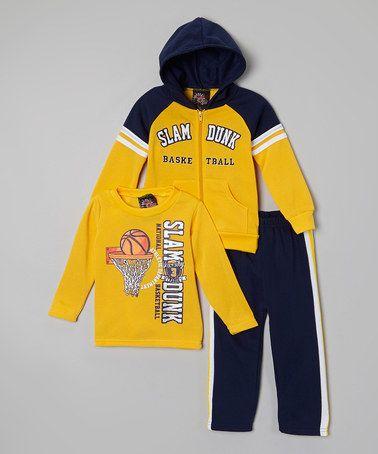 Look at this #zulilyfind! Yellow & Navy Fleece Zip-Up Hoodie Set - Infant, Toddler & Boys by Allura Imports #zulilyfinds