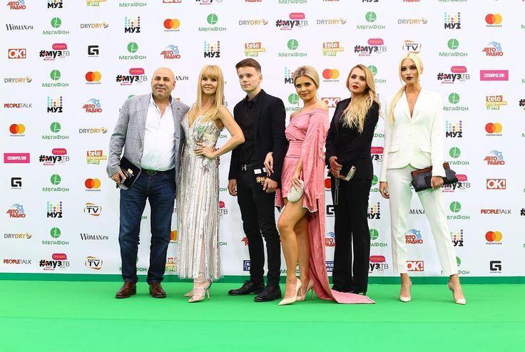 "Russian TV channel MUZ-TV @muztv - ""Valeria with family and friends on the red carpet MUZ-TV #muztv #primeboost "" #alenashishkova #аленашишкова far right"