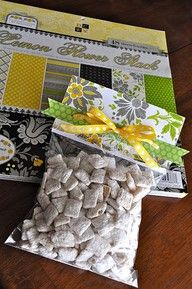 Cute way to give a treat with only a ziploc baggie, staples, paper and ribbon.