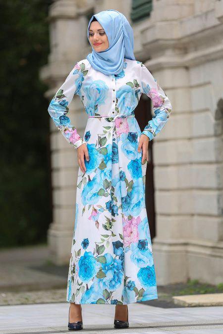 f162f8ddbbcd8 2018/2019 Yeni Sezon Günlük Elbise Koleksiyonu -Neva Style - Çiçek Desenli  Bebek Mavisi Tesettür Elbise 100213BM #tesetturisland #… | Günlük Elbiseler  in ...