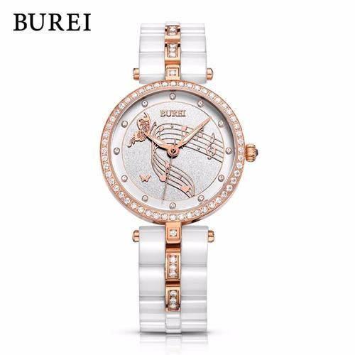 Burei Crystal Studded Elegant Watch For Ladies