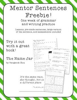 "This contains the materials you need to do a week's worth of mentor sentence activities with the book The Name Jar.This is a great chance to try mentor sentences for free. If you like this product, be sure to check out:Mentor Sentences - 5 weeksMentor Sentences 2 - 5 more weeksBe the first to know about my new discounts, freebies, and product launches: Look for the ""Follow Me"" next to my store logo and click it to become a follower!"
