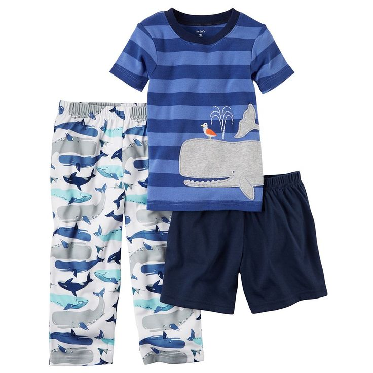 Baby Boy Carter's Striped Tee, Print Pants & Solid Shorts Pajama Set, Size: 18 Months, Ovrfl Oth