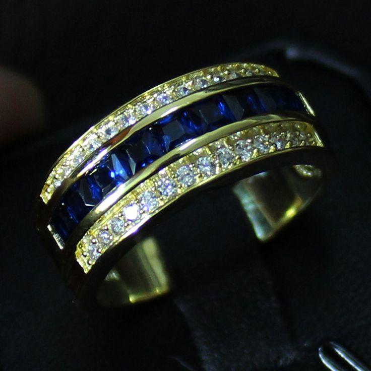 Men S 10kt Yellow Gold Filled Blue Sapphire Gem Band Elvis