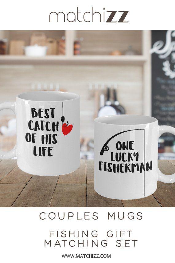 Fishing Couples Mug Fishing Mug Set Lucky Fisherman Best Catch Etsy Fishing Couples Couple Mugs Couples Coffee Mugs
