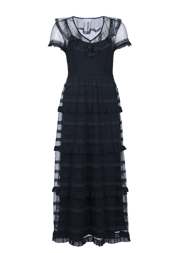 Черное комбинированное платье VALENTINO RED – купить в интернет-магазине по цене 64500 руб., арт. NR3VA06P 33B - ElytS.ru