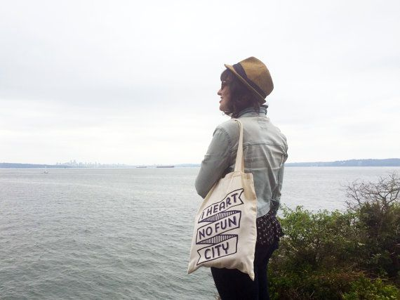 I Heart No Fun City Tote Bag for vancouver by foxandfancy on Etsy