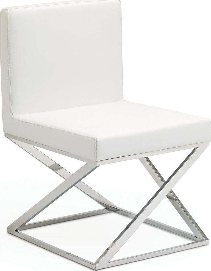 Nuevo Chic Modern Toulon White Leather Dining Chair Contemporary Set of Four