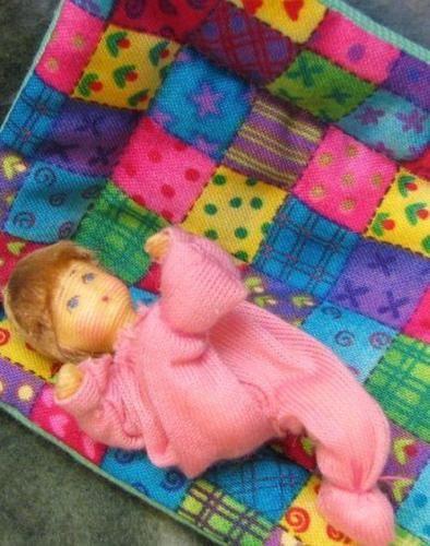 Dollhouse-Dressed-Toddler-Baby-on-Quilt-Erna-Meyer-flexible-Lt-Brn-hair-1910-LtB