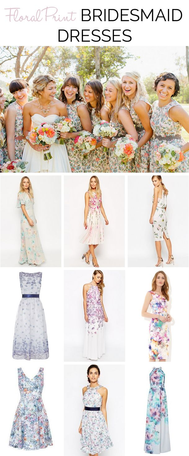Floral Print Bridesmaid Dresses | SouthBound Bride #floral #bridesmaids www.southboundbride.com/get-the-look-floral-print-bridesmaid-dresses  Top image: Mr Edwards Photography and Design via Style Me Pretty