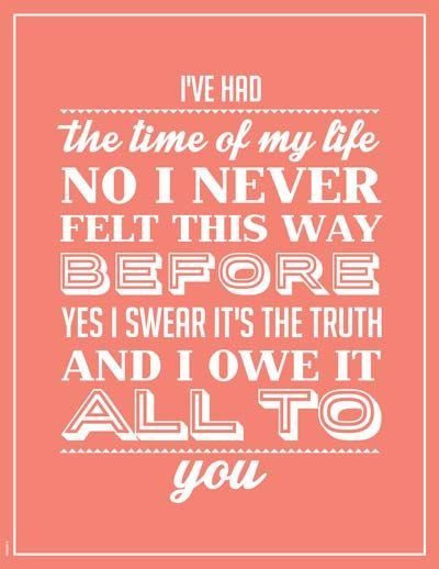 Dirty Dancing Printable Poster Music quote letter size poster I Had the time of my life music inspirated in the Dirty Dancing music song on Etsy, $4.99